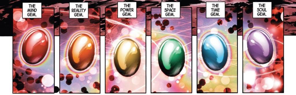 Kameny nekonečna v komiksu mají jinou barvu než ty ve filmu.